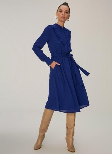 NGSTYLE Kadın Fırfır Detaylı  Elbise NGKAW20EL0039 Saks